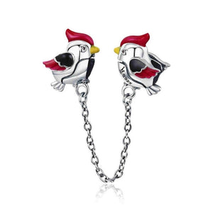 Bird 925 Sterling Silver Safety Chain Charm will Fit Original Pandora and Chamilia - Gifts Galore Store
