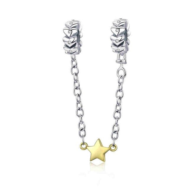 Golden star 925 Sterling Silver Safety Chain Charm will Fit Original Pandora and Chamilia - Gifts Galore Store