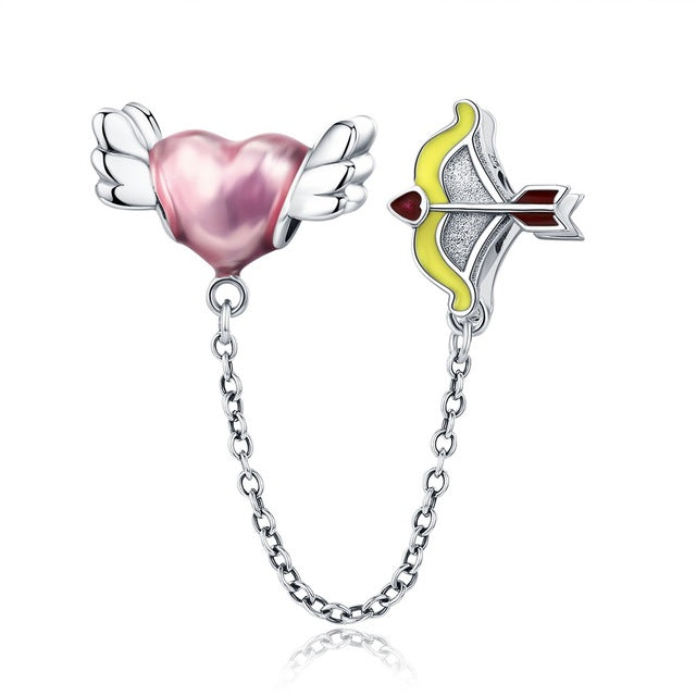 cupids arrow and heart 925 Sterling Silver Safety Chain Charm will Fit Original Pandora and Chamilia - Gifts Galore Store