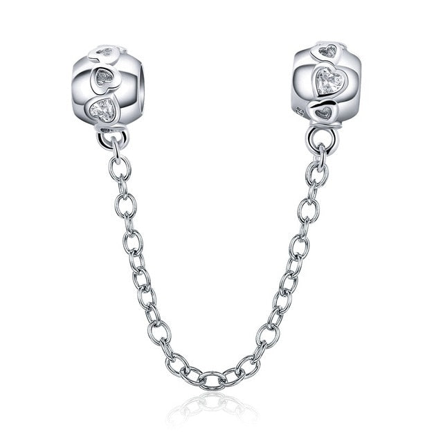 Love heart 925 Sterling Silver Safety Chain Charm will Fit Original Pandora and Chamilia - Gifts Galore Store