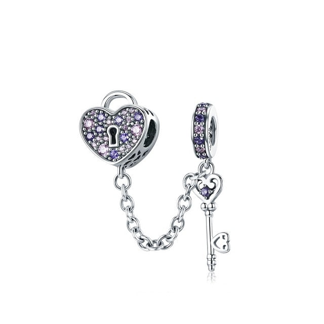 Heart padlock and key 925 Sterling Silver Safety Chain Charm will Fit Original Pandora and Chamilia - Gifts Galore Store
