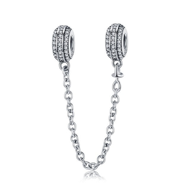 925 Sterling Silver Safety Chain Charm will Fit Original Pandora and Chamilia - Gifts Galore Store