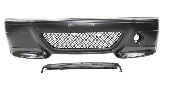 PLASTIC FRONT BUMPER BAR CARBON FIBRE LIP TO SUIT BMW E46 SEDAN 98-04