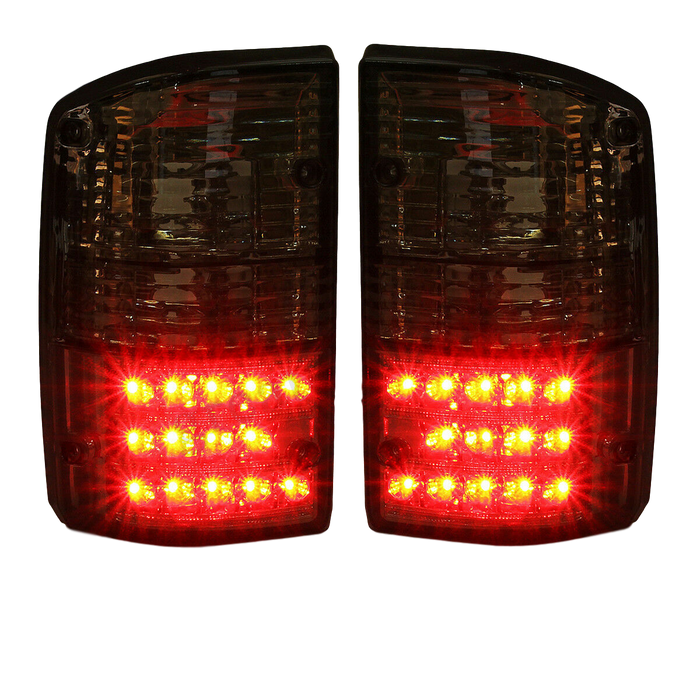 BLACK SMOKED LED TAIL LIGHTS TO SUIT NISSAN PATROL GQ WAGON 1988-1997 SERIES 1-2