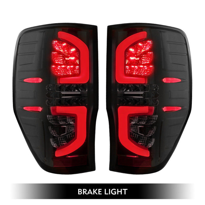 BLACK SMOKED LED TAIL LIGHT REPLACEMENTS TO SUIT FORD RANGER 2012-2019 PX1 PX2 PX3