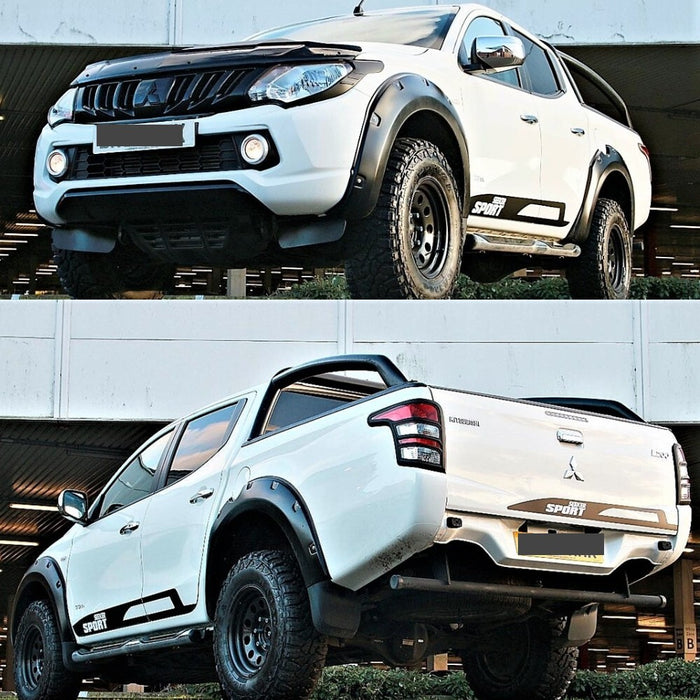 MATTE BLACK JUNGLE FLARES 4PC TO SUIT MITSUBISHI TRITON MQ 2015-2018