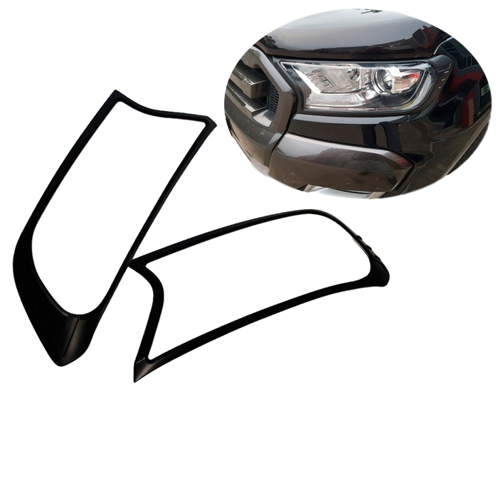 MATTE BLACK HEADLIGHT SURROUNDS TO SUIT FORD RANGER 2015-2019 PX2 MK2 PX3 MK3