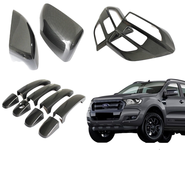 CARBON FIBER MIRROR + HANDLES + GUARD WINGS TO SUIT FORD RANGER 2015-2018 PX2 MK2