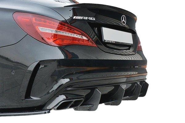 ABS GLOSS BLACK REAR BUMPER BAR DIFFUSER TO SUIT MERCEDES CLA45 AMG C117 FACE-LIFT 2017+