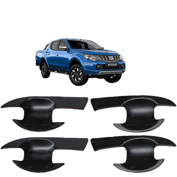 BLACK DOOR HANDLE BOWL COVERS TO SUIT MITSUBISHI TRITON MQ 2015-2018