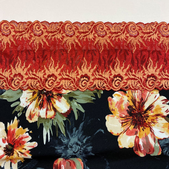 Shelley Class Combo, Autumn Floral Bra Kit Quartet with Warm Red Orange Flame Lace