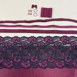 Bra Kit, Marlborough and Devonshire Full Bra Kit, Black Cherry w/ Black and Fuchsia Floral Lace (Fabric, Findings, Sheer Cup Lining, Lace & Underwires)