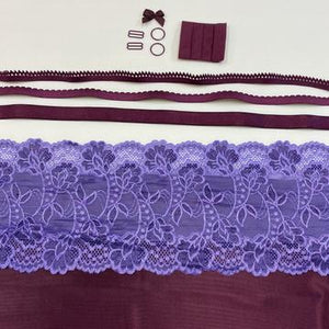 Shelley Class Combo, Black Cherry Bra Kit Trio with Purple Lilac Floral Lace