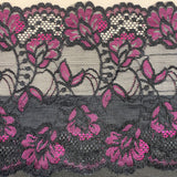Shelley Class Combo, Black Bra Kit Trio with Black and Fuchsia Floral Lace