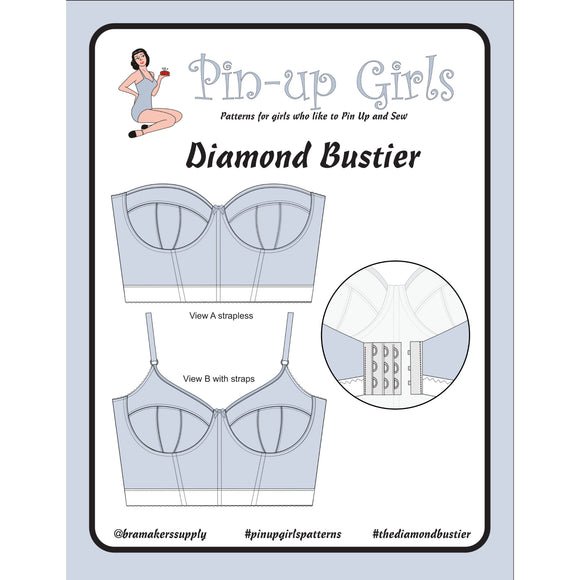 Bra Pattern, Diamond Foam-Lined Bustier, Bra-Makers Supply- Gigi's Bra Supply