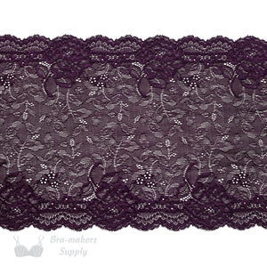 "Lace, Stretch Lace, 8"" Deep Purple Delicate Floral Stretch Lace, 8 inch"