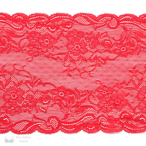 "Lace, Stretch Lace, 8"" Red Floral Stretch Lace, 8 inch"