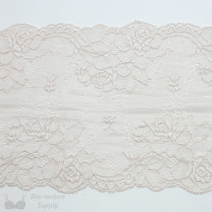 "Lace, Stretch Lace, 6"" Champagne Floral Stretch Lace, 6 inch"