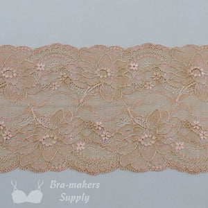 "Lace, Stretch Lace, 6"" Blush Floral Stretch Lace with Gold, 6 inch"