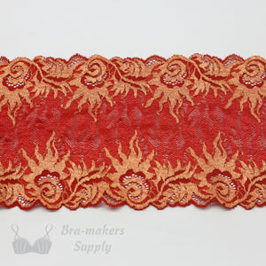 "Lace, Stretch Lace, 6"" Warm Red Orange Flame Stretch Lace, 6 inch"