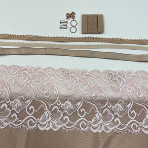Shelley Class Combo, Light Copper Bra Kit Trio with Blush and Shell Pink Floral Lace