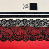 Shelley Class Combo, Red Bra Kit Trio with Black Findings and Black Floral Stretch Lace