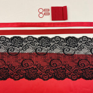 Shelley Class Combo, Red Bra Kit Trio with Black Floral Stretch Lace
