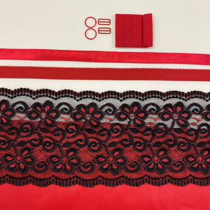 Shelley Class Combo, Red Bra Kit Trio with Red Black Floral Scalloped Lace
