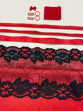 Bra Kit, Marlborough and Devonshire Full Bra Kit, Red w/ Red Black Floral Swirl Stretch Lace (Fabric, Red Findings, Sheer Cup Lining, Lace & Underwires)