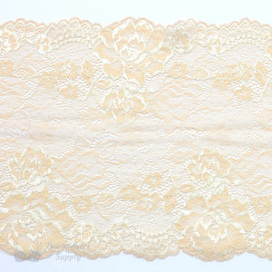 "Lace, Stretch Lace, 7"" Light Beige Ivory Floral Stretch Lace, 7 inch - Gigi's Bra Supply"