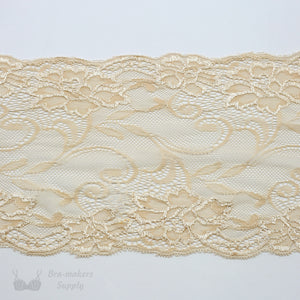 "Lace, Stretch Lace, 7"" Light Peach Floral Stretch Lace, 7 inch"