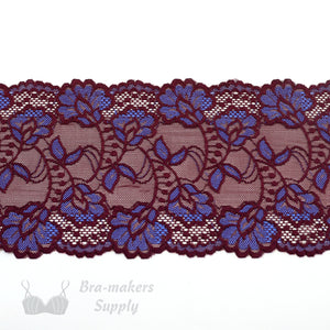 "Lace, Stretch Lace, 6"" Black Cherry Bluebird Floral Stretch Lace, 6 inch"
