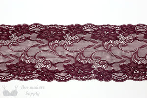 "Lace, Stretch Lace, 6"" Black Cherry Floral Stretch Lace, 6 inch"