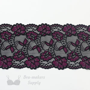 "Lace, Stretch Lace, 6"" Black and Fuchsia Floral Stretch Lace, 6 inch - Gigi's Bra Supply"