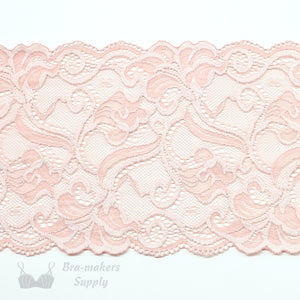 "Lace, Stretch Lace, 6"" Blush and Shell Pink Floral Stretch Lace, 6 inch per 1/2M - Gigi's Bra Supply"