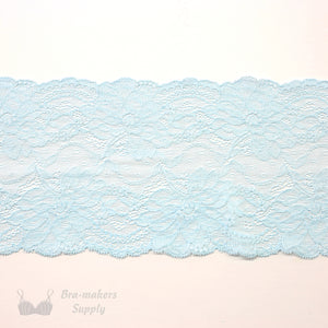 "Lace, Stretch Lace, 6"" Sterling Blue Floral Stretch Lace, 6 inch"