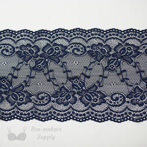 "Lace, Stretch Lace, 6"" Navy Floral Stretch Lace, 6 inch"