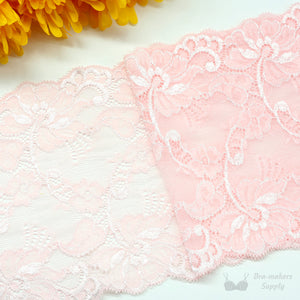 "Lace, Stretch Lace, 6"" Pink Floral Scalloped Stretch Lace, 6 inch per 1/2M - Gigi's Bra Supply"
