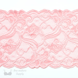 "Lace, Stretch Lace, 6"" Pink and Coral Floral Stretch Lace, 6 inch per 1/2M - Gigi's Bra Supply"