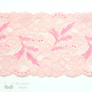 "Lace, Stretch Lace, 6"" Pink and Fuchsia Floral Stretch Lace, 6 inch"