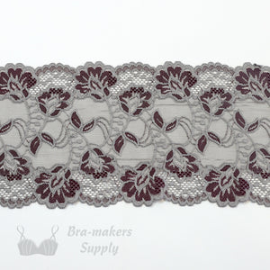"Lace, Stretch Lace, 6"" Platinum and Black Cherry Floral Stretch Lace, 6 inch"