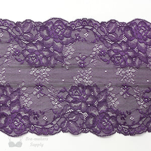 "Lace, Stretch Lace, 6"" Purple Rose Floral Stretch Lace, 6 inch"