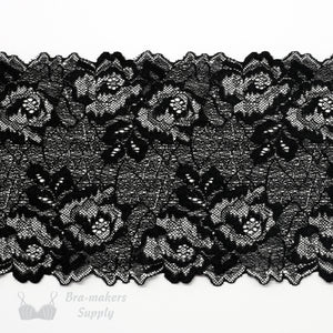 "Lace, Stretch Lace, 5"" Silver Black Floral Swirl Stretch Lace, 5 inch"
