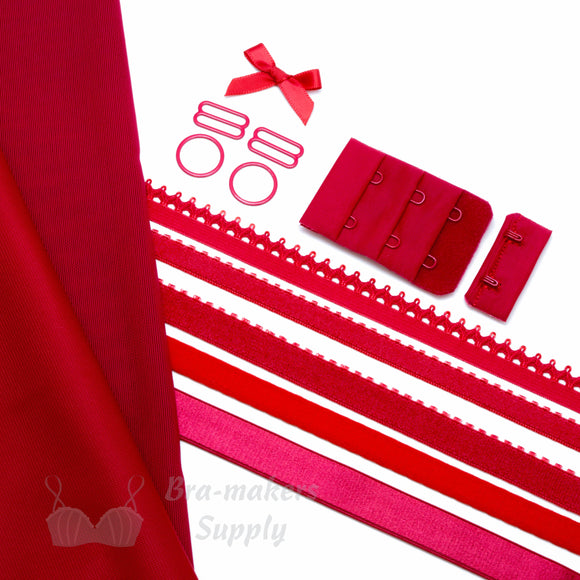 Bra Kit, Red Full Kit (Fabric and Findings) - Gigi's Bra Supply