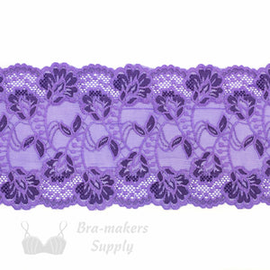 "Lace, Stretch Lace, 6"" Purple Lilac Floral Stretch Lace, 6 inch"
