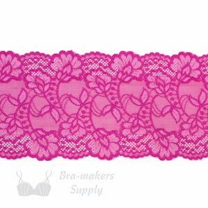 "Lace, Stretch Lace, 6"" Fuchsia and White Floral Stretch Lace, 6 inch - Gigi's Bra Supply"
