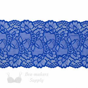 "Lace, Stretch Lace, 6"" Royal Blue with White Stretch Lace, 6 inch - Gigi's Bra Supply"