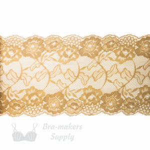 "Lace, Stretch Lace, 6"" Beige Floral Scalloped Stretch Lace, 6 inch - Gigi's Bra Supply"