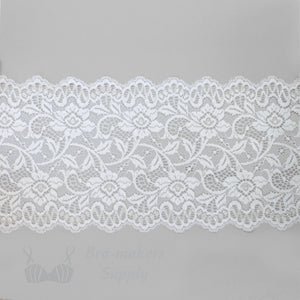 "Lace, Stretch Lace, 6"" White Stemmed Floral Scalloped Stretch Lace, 6 inch"