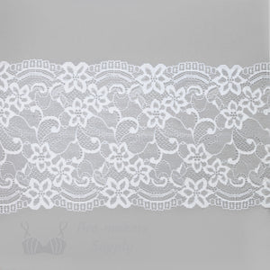 "Lace, Stretch Lace, 6"" White Floral Scalloped Stretch Lace, 6 inch"